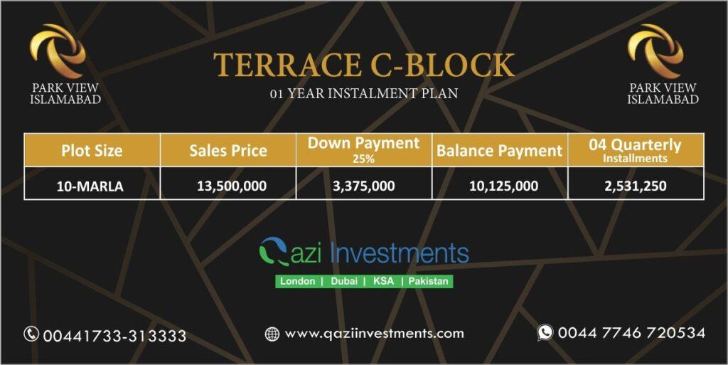 Terrace C block payment Plan Park View Islamabad