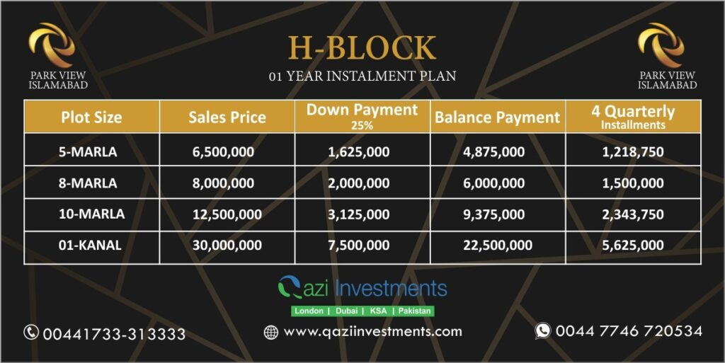 H block payment Plan Park View Islamabad