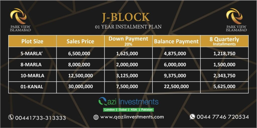 J block payment Plan Park View Islamabad