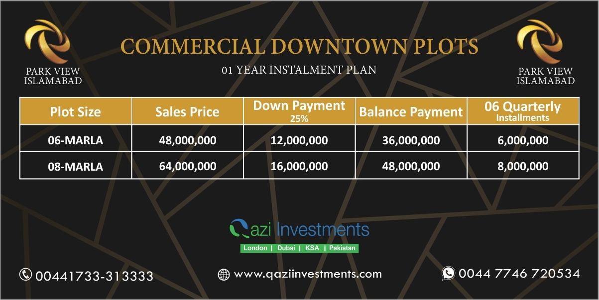 COMMERCIAL Payment Plan park View
