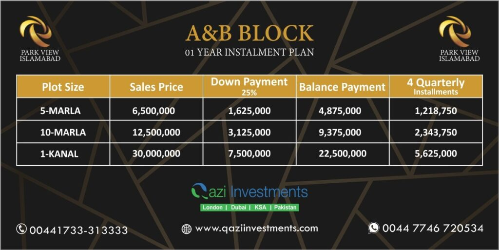 A & B payment Plan Park View Islamabad