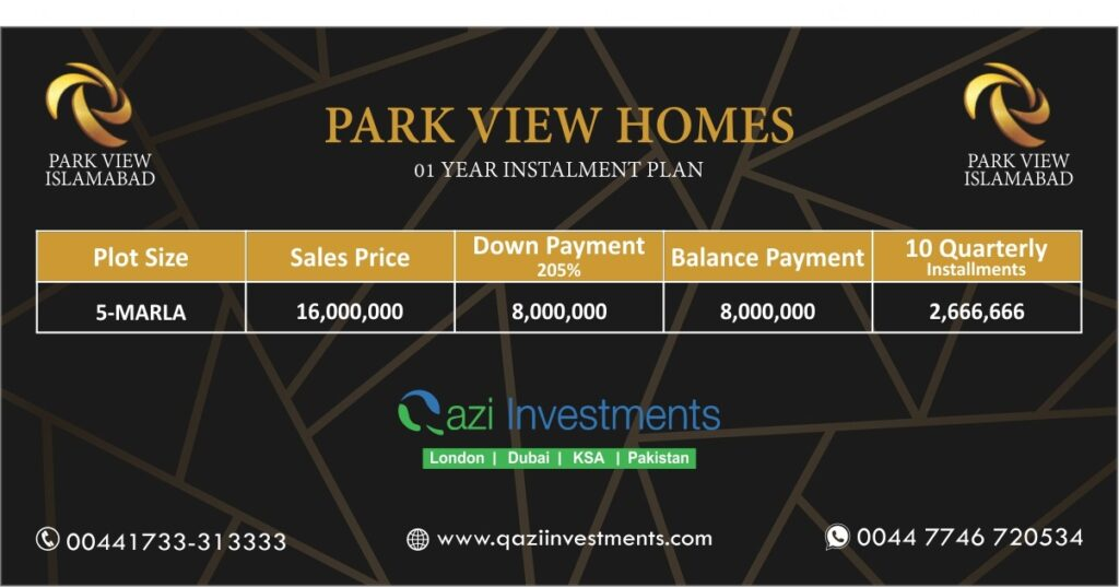 PARK VIEW CITY HOMES PAYMENT PLAN