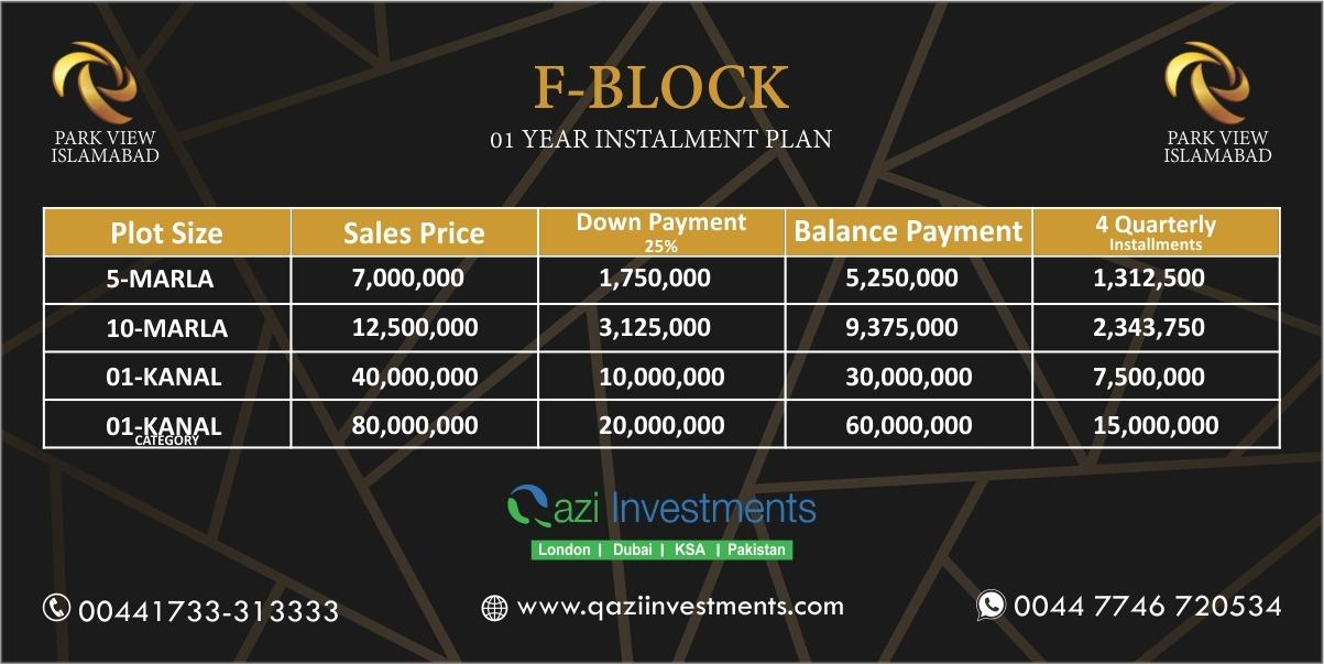 PARK VIEW CITY F BLOCK PAYMENT PLAN