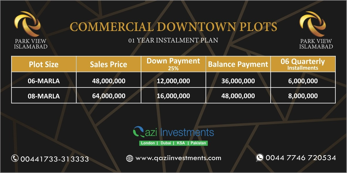 PARK VIEW CITY COMMERICAL PAYMENT PLAN